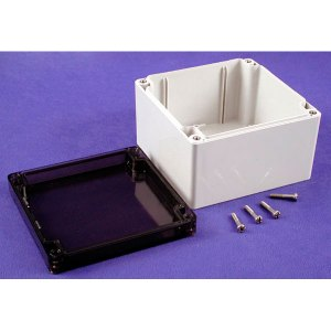 Hammond 1554P2GYSL Watertight PC Enclosure Smoked Lid 120 x 120 x ...