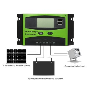 30A Solar Charge Controller Solar Panel Battery Intelligent Regulator with Dual USB Port PWM LCD Display 12V/24V