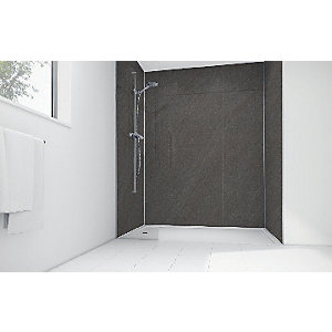 Mermaid Solar Grey Laminate 2 Sided Shower Panel Kit 1200mm x 900mm
