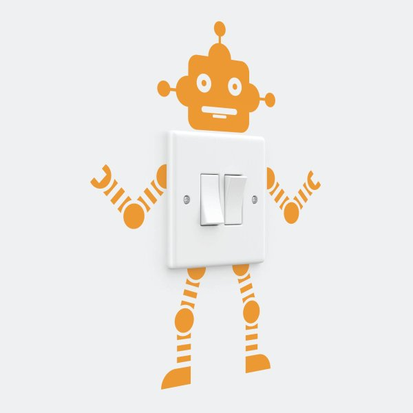 Robot Light Switch Removable Vinyl Wall Decal Stickers Home Decor Art, One Size