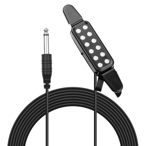 Acoustic Guitar Pickup Clip-on Guitar Pick Up Transducer Instrument Pick-up with 1/4 Inch Connector 2.9 Meters Cable
