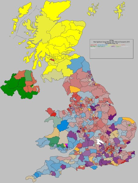 UK Elect UK Election Forecasting   UK Political Maps How UK is changing   most significant  swing to  between April 1992  election 1992
