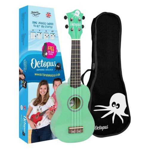 Octopus metallic series soprano ukulele Green with box