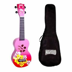 Mahalo Soprano Hibiscus Ukulele Red Burst With Bag
