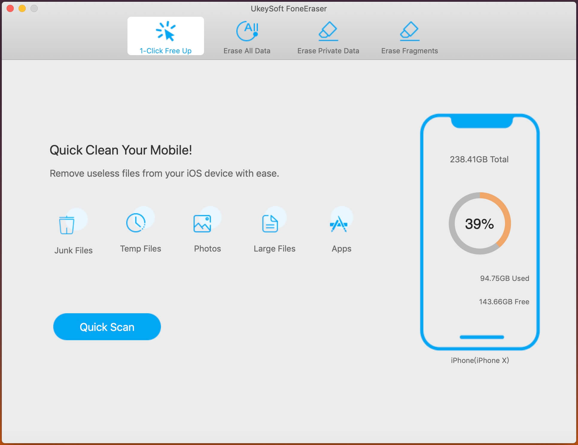 Kör en iPhone-data-suddgummi