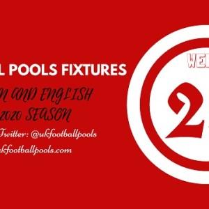 Week 23 Pools Fixtures – UK 2019/2020 Season