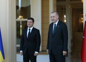 ISTANBUL, TURKEY - OCTOBER 16: President of Turkey, Recep Tayyip Erdogan (R) meets with his Ukranian counterpart Volodymyr Zelensky (L) at Vahdettin Mansion in Istanbul, Turkey on October 16, 2020.  ( Murat Kula - Anadolu Agency )