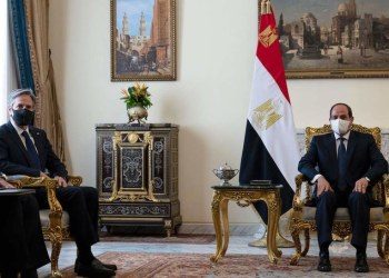 US Secretary of State Antony Blinken (L) meets with Egypt's President Abdel Fattah al-Sisi at the Heliopolis Presidential Palace on May 26, 2021. / AFP / POOL / Alex Brandon