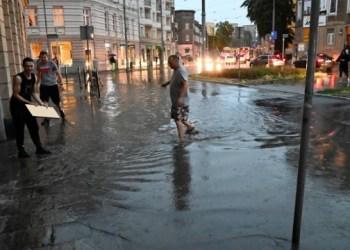 أسقف ممزقة وانقطاع التيار الكهربائي وأشجار محطمة مكسرة أثر العواصف في بولندا