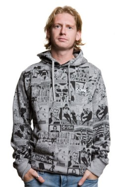 Mens Comic Hooded Sweater // Grey M????l????e 70% cotton/30% polyester