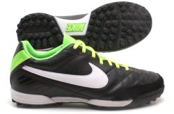 Tiempo Natural IV LTR TF Football Trainers Black/White/Electric Green