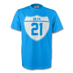 David Silva Man City Crest Tee (sky Blue) - Kids