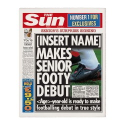 Personalised The Sun Football    Oldest Signing  Newspaper