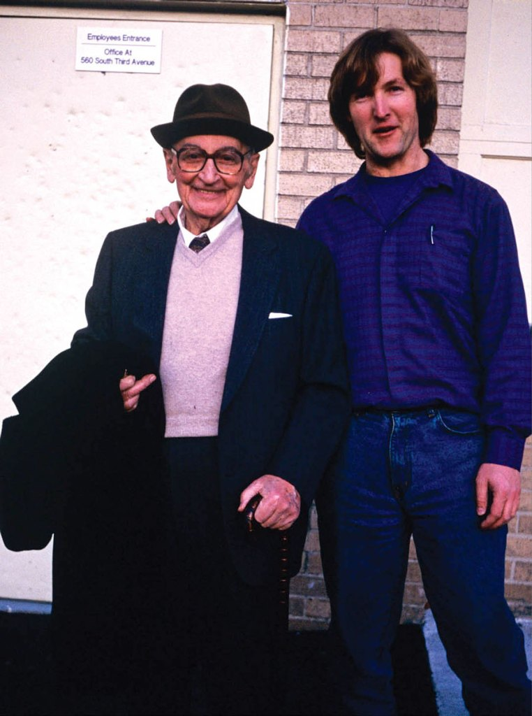 Mario Maccaferri, left, with author Sandor Nagyszalanczy on the day they first met