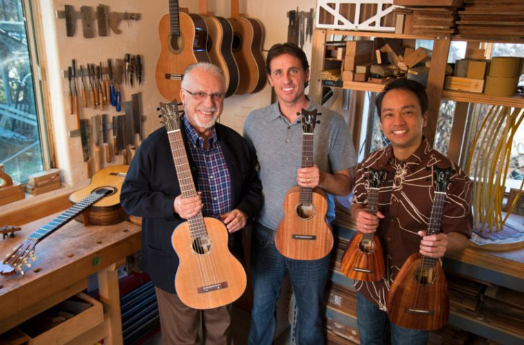 Ukulele player Daniel Ho with classical guitar luthiers Pepe Romero, and Pepe Romer Jr with Tenor Ukuleles and nylon string guitars