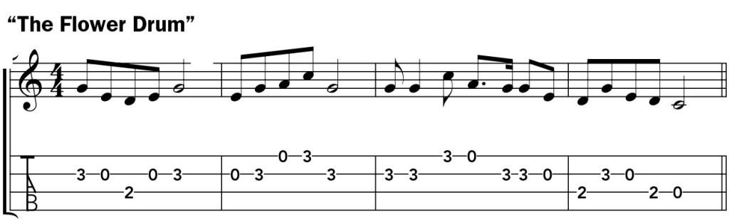 Pentatonic scale ukulele lesson music notation example 2