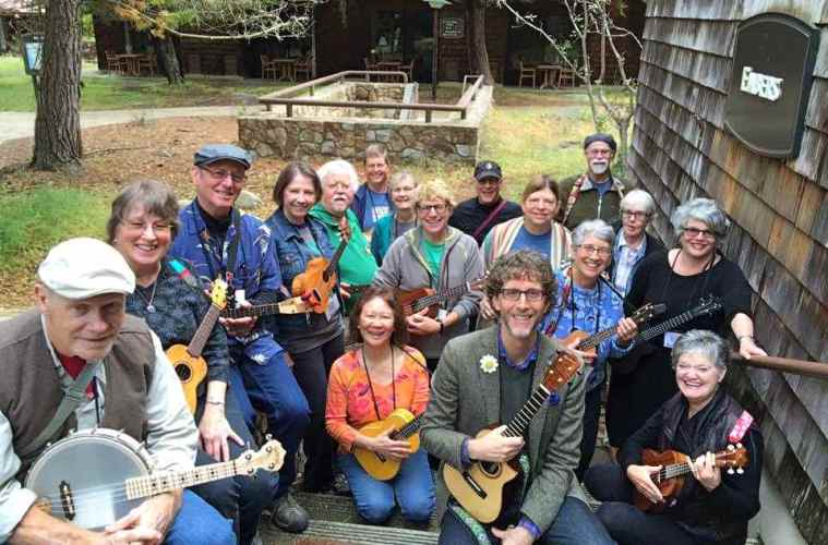 Kevin Carroll's Ukestra Class out on the grounds of Asilomar.