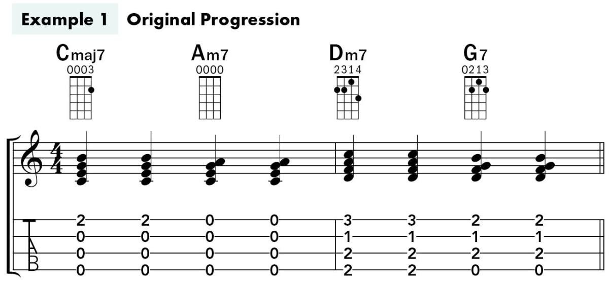 Uke Chord Substitutions lesson example 1