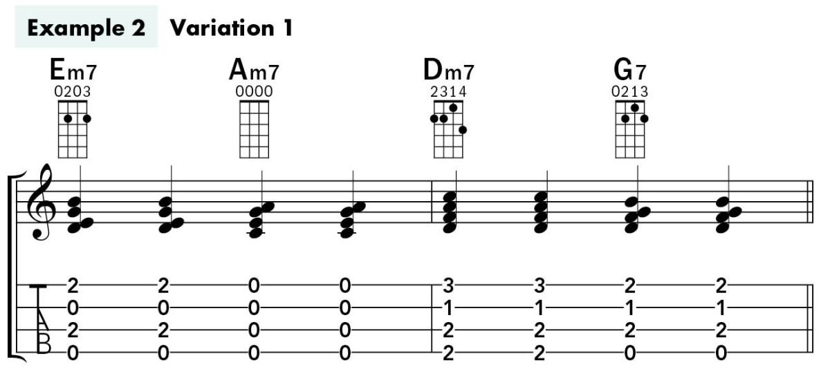 Uke Chord Substitutions lesson example 2