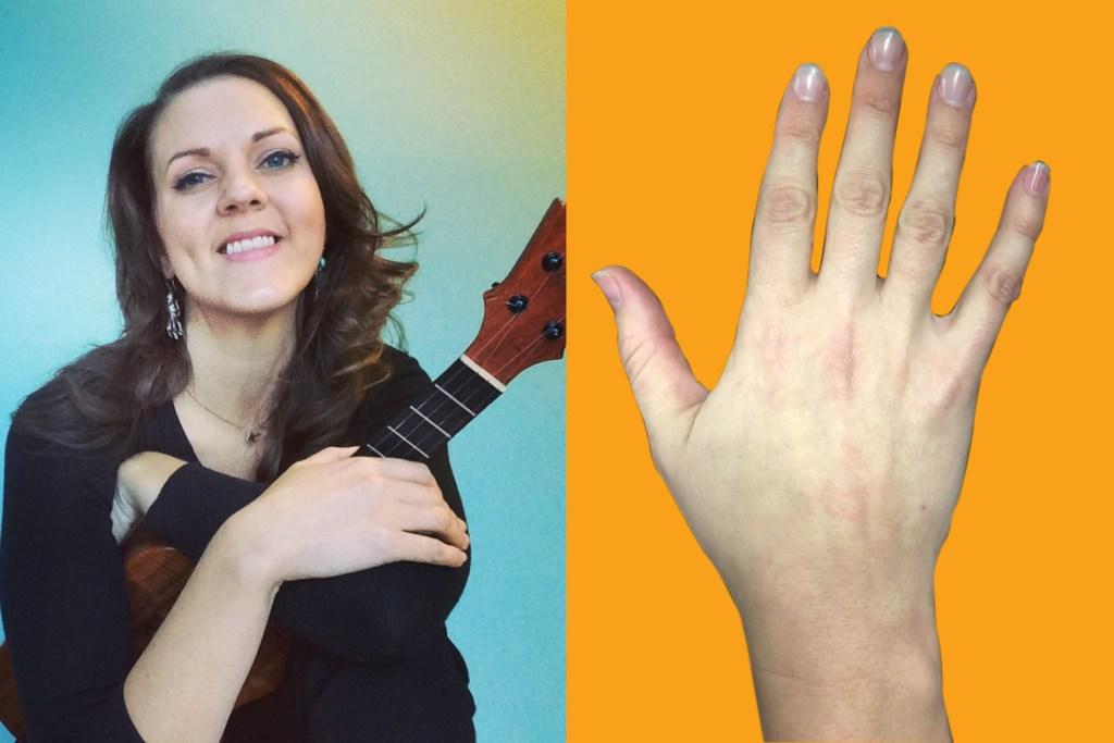 picking hands of ukulele player dani joy