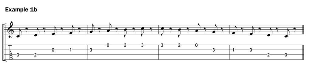 Basic ukulele technique music notation ex. 1b C scale with rests