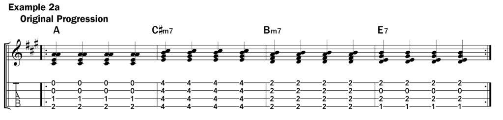 Basic ukulele technique music notation ex. 2a using a slide