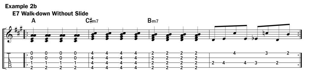 Basic ukulele technique music notation ex. 2b using a slide with single notes