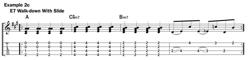 Basic ukulele technique music notation ex. 2c using a slide on E7 chord