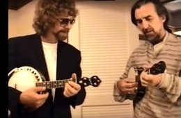 Jeff Lynne and George Harrison with a pair of banjo-ukuleles.