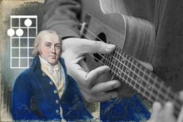 ukulele close up with James Madison and chord shape superimposed