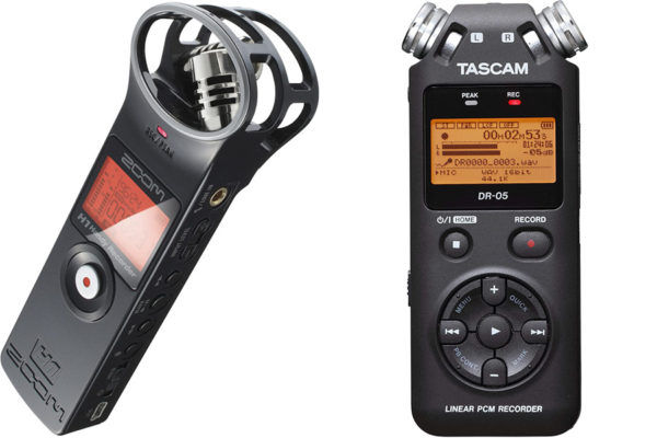 zoom h1 and tascam flash recorders