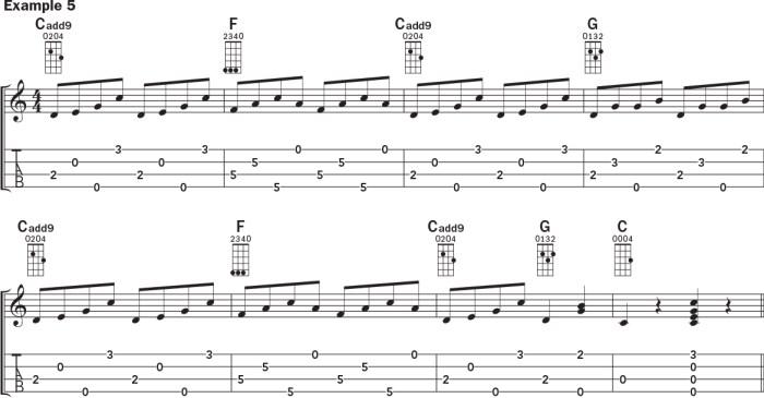 Ukulele banjo rolls example 5