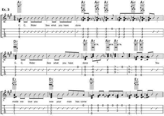ukulele blues improv lesson example 3