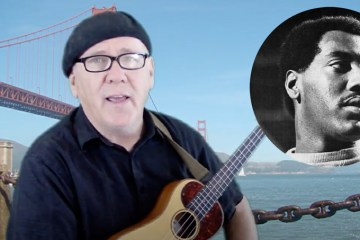 Jim D'Ville with his ukulele, in front of the golden gate bridge. otis redding superimposed