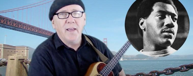 Jim D'Ville with his ukulele, in front of the golden gate bridge. otis redding superimposed