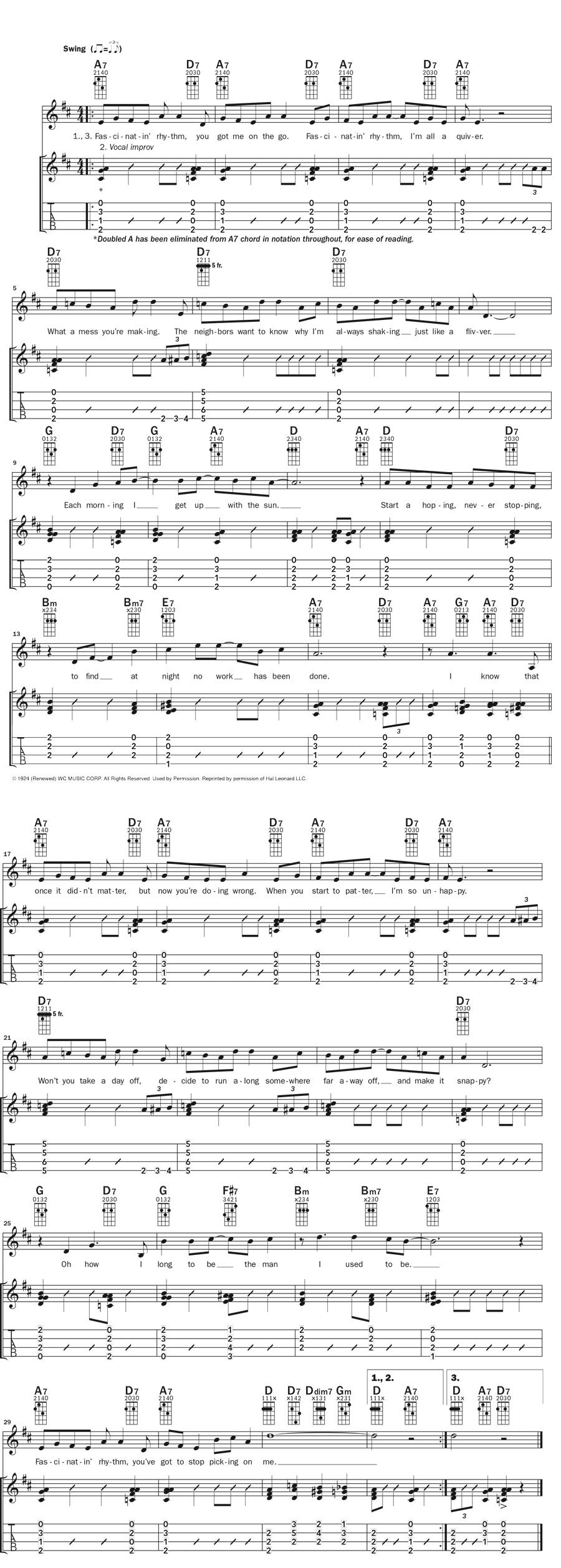 Ukulele music notation for Fascinating Rhythm