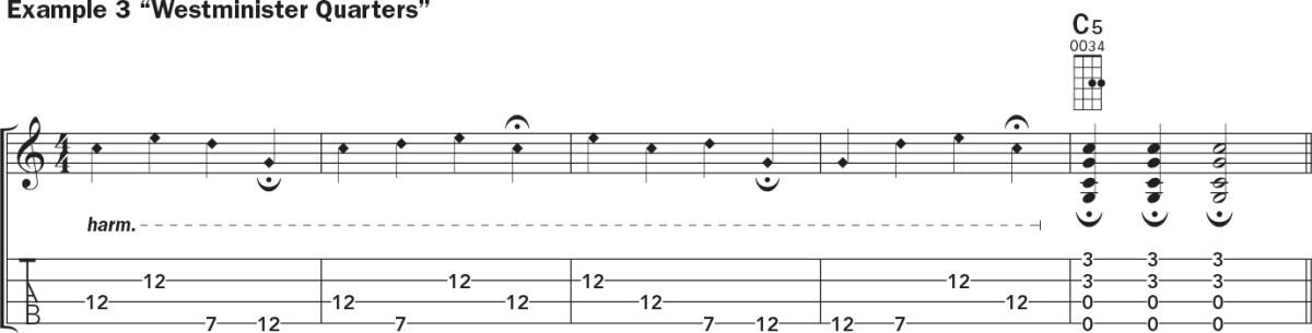 Ukulele harmonics lesson notation example 3