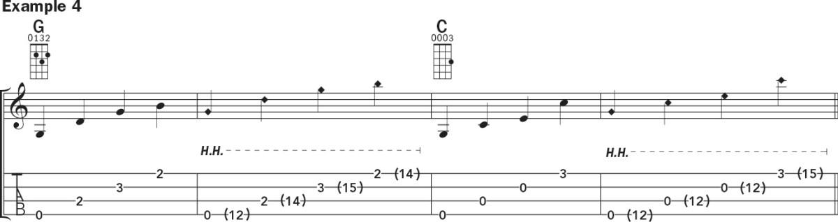 Ukulele harmonics lesson notation example 4