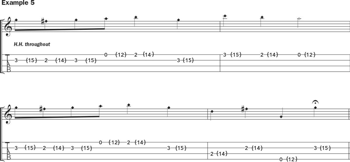 Ukulele harmonics lesson notation example 5