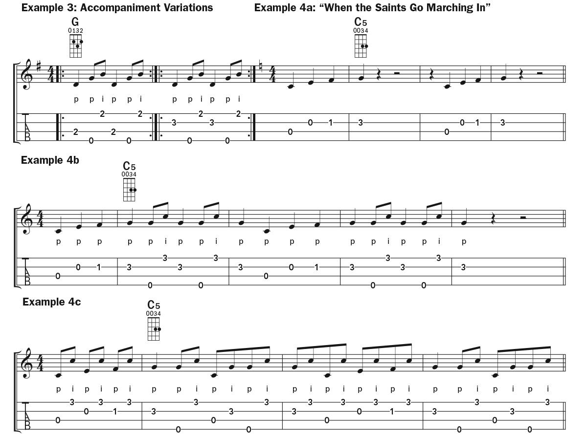 Two-Finger Picking (Double Thumbing) ukulele lesson music notation examples 3–4
