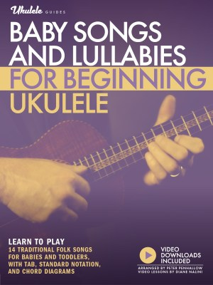 """purple and gold cover image for """"Baby Songs and Lullabies for Beginning Ukulele"""" - learn to play 14 traditional folk songs for babies and toddlers with tab, standard notation, chord diagrams, and video downloads included"""
