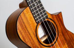 twisted wood switchback tenor ukulele detail