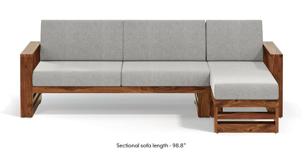 parsons wooden sectional sofa teak finish vapour grey left aligned chaise individual
