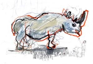 Ich bin kein Elefant Madame | 2013 | Mischtechnik auf Papier | ca. 22 x 28 cm