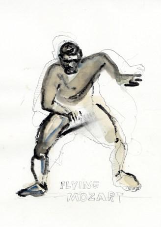 Flying Mozart | 2012 | Mischtechnik auf Papier | ca. 28 x 20 cm