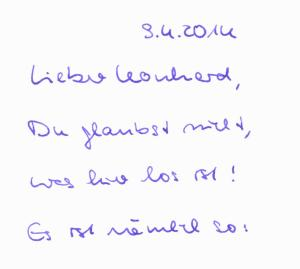 Lieber Leonhard ...