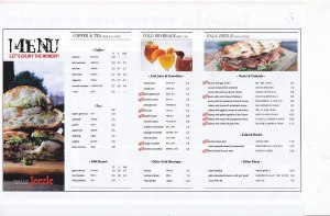 Jeezel's menu includes sandwiches, salad & bread combos, coffee, tea, and fresh fruit smoothies. Vegetarians will be happy to know that they have many different options on the menu.
