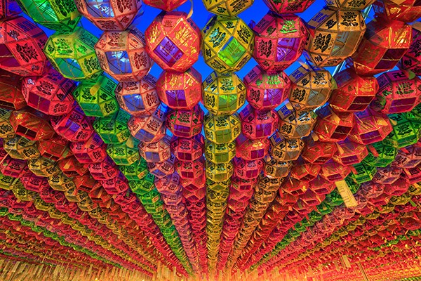 A filled with lanterns