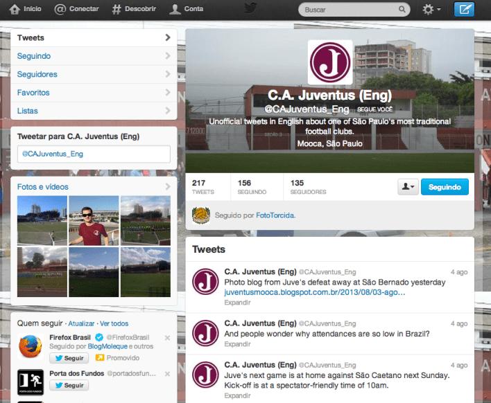 Página da conta juventina in english no Twitter