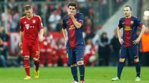 Barcelona's Lionel Messi and Andres Iniesta look dejected after Bayern Munich's third goal s